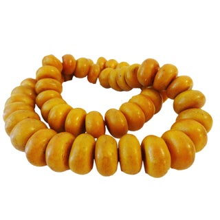 Vintage African Simulated Amber Necklace W/50 Trade Beads For Sale