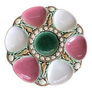 Antique Early 20th Century English Majolica Oyster Plate Attributed to Minton For Sale