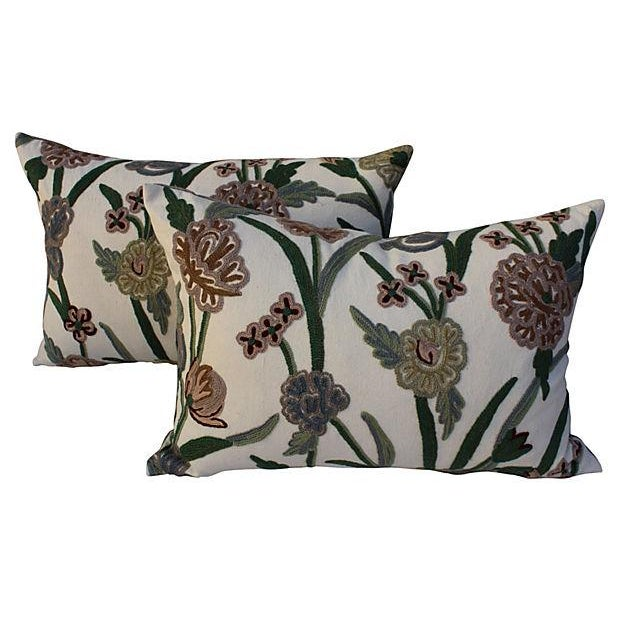 English Crewelwork Floral Pillows - Pair For Sale