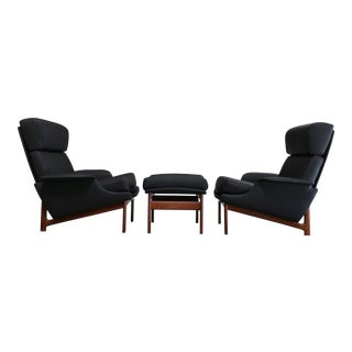 "Ib Kofod-Larsen for Mogens Kold ""Adam"" Lounge Chairs With Ottoman - 3 Piece Set For Sale"