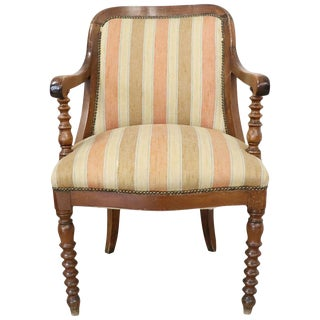 19th Century Italian Empire Walnut Armchair, Legs in Turned Walnut For Sale