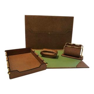 Vintage Gucci Leather Desk Set - 4 Pieces For Sale