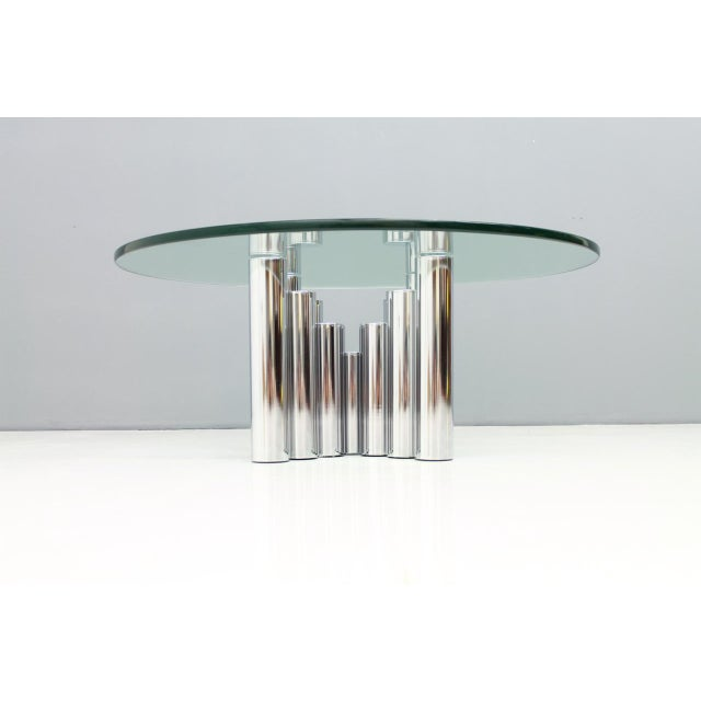 Chrome Modern Coffee Table in Chrome & Glass 1970s For Sale - Image 7 of 11