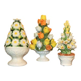 1970s Vintage Italian Mottahedeh and Meiselman Floral Topiary Set - 3 Pieces For Sale