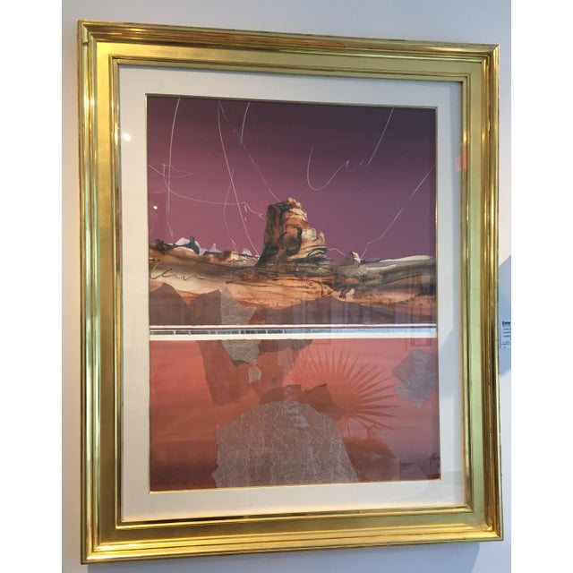 Watercolor Harold Larsen Abstract Landscape Watercolor Painting in Gilt Frame For Sale - Image 7 of 7