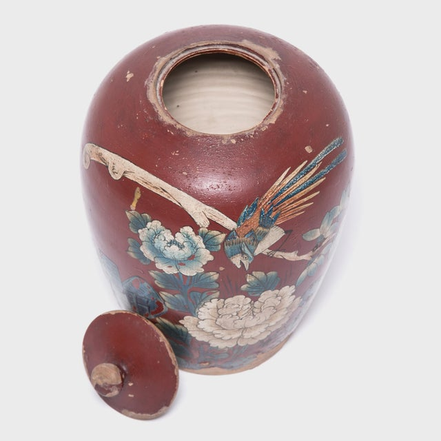 Chinese Painted Oxblood Jars With Phoenix & Peonies - a Pair For Sale - Image 12 of 13
