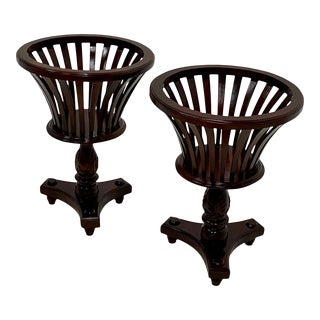 Regency Style Pierced Carved Mahogany Plant Stands -Pair For Sale