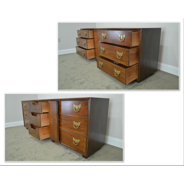 "Asian Henredon Folio Eleven 80"" Long Mahogany Asian Inspired Dresser W/ Butterfly Hardware For Sale - Image 3 of 13"