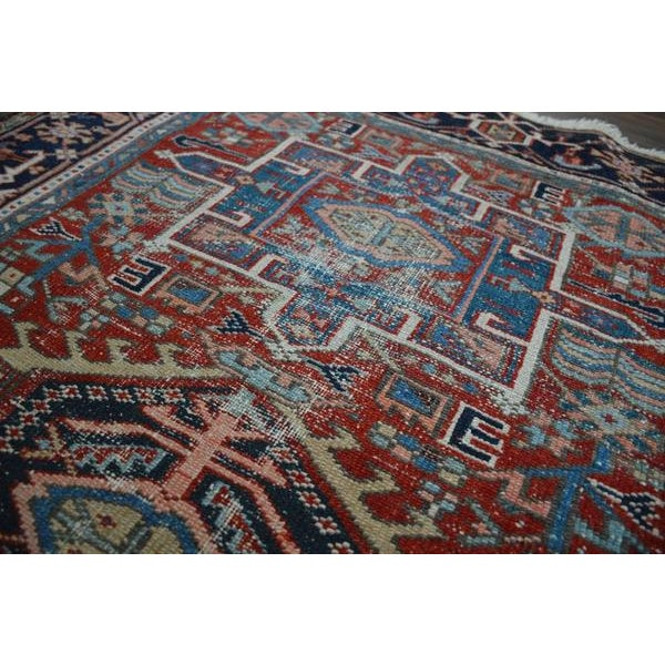 """1910s Antique Shabby Chic Heriz Wool Rug - 3'4"""" X 4'7"""" For Sale - Image 5 of 7"""