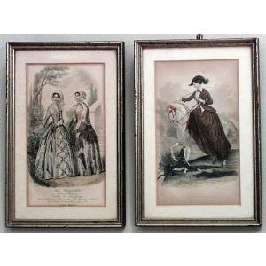 Set of 6 American Victorian prints of 19th Century ladies of fashion in green painted and silver gilt frames.