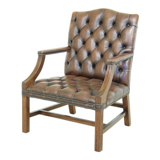 English Style Tufted Leather Mahogany Library Armchair For Sale