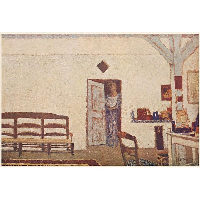 """A rare First Edition vintage Cottage or Farmhouse Style offset lithograph after painting """"Interieur"""" (Interior), depicting..."""