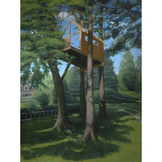 """Tree House ~ Looking Up"" Contemporary Large Painting by Stephen Remick For Sale"