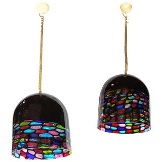 Beautiful Pair of Glass Pendants by Leucos For Sale