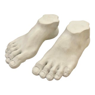 1980s Child Plaster Feet, Signed Marco - a Pair For Sale