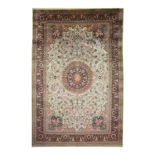 Vintage Persian Silk Qum Rug with European Romance Style in Soft Colors For Sale