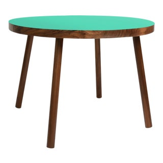 "Poco Small Round 23.5"" Kids Table in Walnut With Mint Top For Sale"