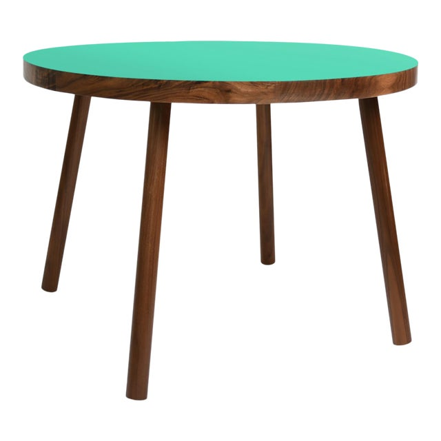 """Poco Small Round 23.5"""" Kids Table in Walnut With Mint Top For Sale"""