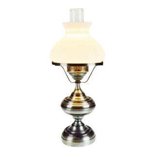 Vintage Metal Oil Lamp Style Table Lamp For Sale