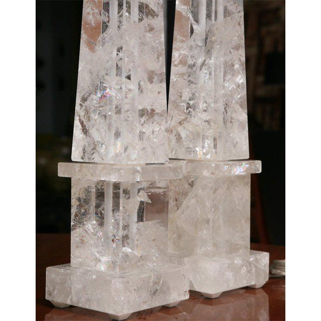 Pair of Rock Crystal Lamps For Sale - Image 9 of 11