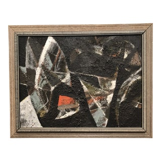 Mid-Century Mixed Media Abstract on Board Signed by Artist For Sale