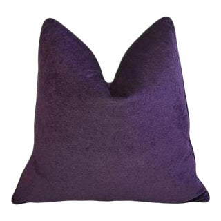 "Ultra Violet Purple Velvet Feather & Down Pillow 24"" Square"