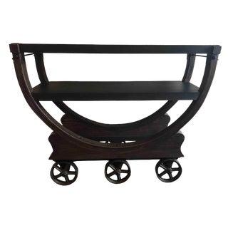 Industrial Restoration Hardware Vintage Wallpaper Factory Bar Cart For Sale