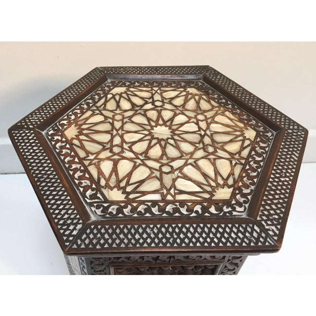 19th Century Syrian Mother-Of-Pearl Inlaid Side Table For Sale - Image 9 of 12