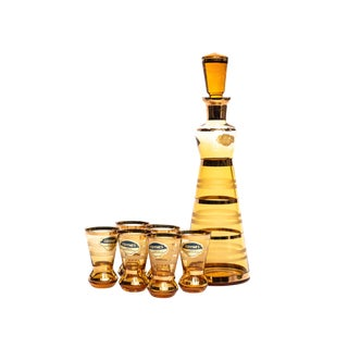 Striped Amber Cocktail Set - 7 Piece Set For Sale