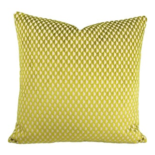 """Romo Parada Collection Pepino in Cactus Jacquard Velvet Geometric Lime Green Pillow Cover - 20"""" X 20"""" For Sale"""