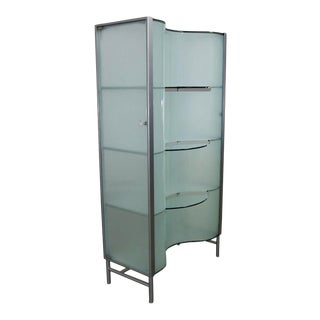 Modern Dual Sided Glass and Metal Enclosed Display For Sale