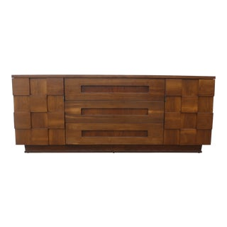 1960s Brutalist Young Manufacturing Credenza/Long Chest For Sale