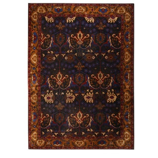 1910s Antique Continental Bidjar Blue and Gold Wool Floral Rug- 9′8″ × 12′9″ For Sale