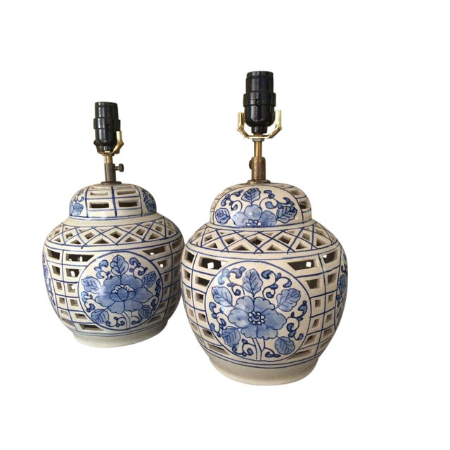 Blue and White Chinese Ceramic Lamps - A Pair - Image 2 of 5