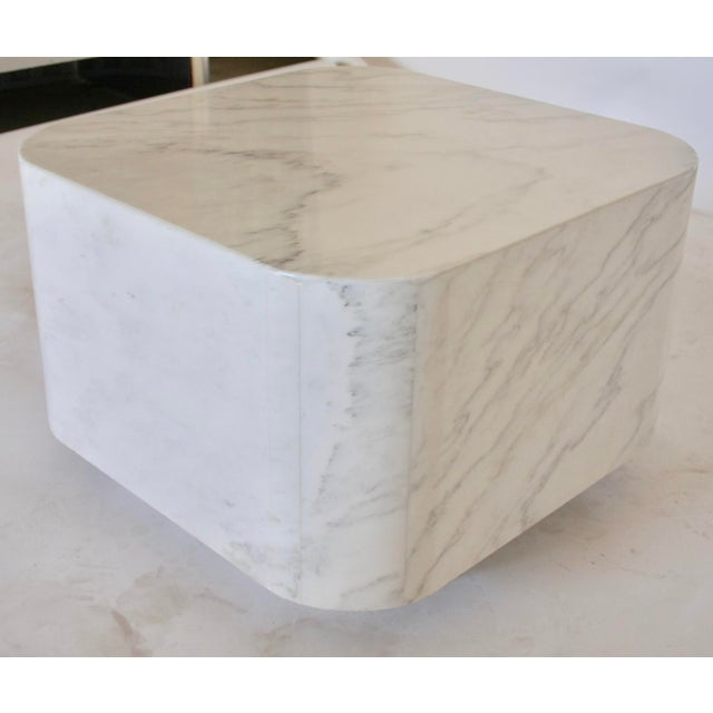 White Marble Plinth Base Table For Sale In Dallas - Image 6 of 7