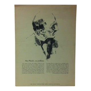 """1962 """"Max Planck - on Problems"""" The Rand Corporation Famous People in History Print For Sale"""