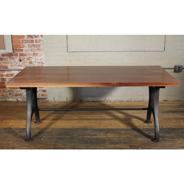 Industrial Desk – Walnut Top With Cast-Iron Legs For Sale In New York - Image 6 of 13