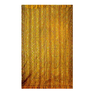 Bhutanese Silk Woven Kira Textile, Multicolor on Yellow For Sale