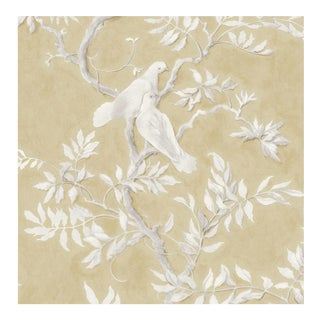 Lewis & Wood Doves Fawn Extra Wide Printed Botanic Style Wallpaper Sample For Sale