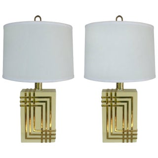 Mid-Century Modern Brass Table Lamps With Drum Shades For Sale