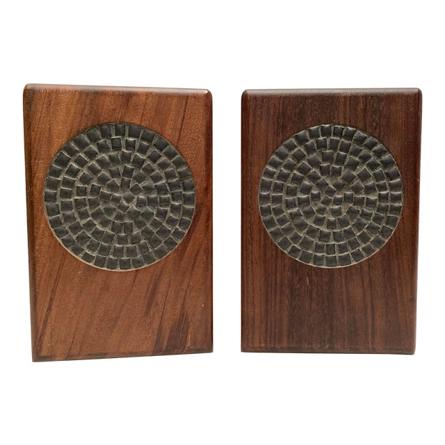 Mid-Century Modern Walnut and Tile Bookends - a Pair For Sale