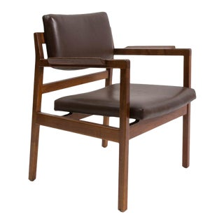 Set of 8 Solid Walnut and Leather Jens Risom Chairs For Sale
