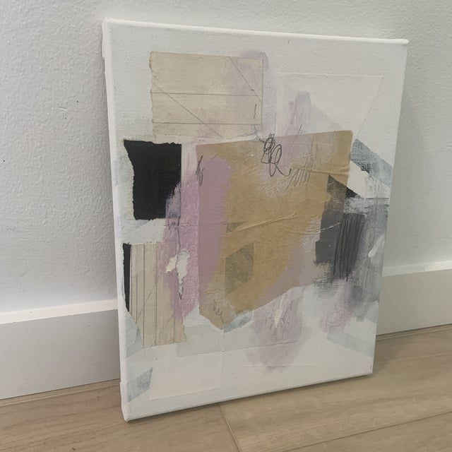 Original mixed media painting of stretched canvas by Ross Severson in 2021. Minimal design made with found paper, pencil,...