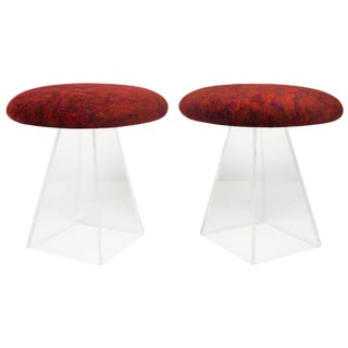 1950s Vintage Vladimir Kagan Lucite Stools in Jack Lenor Larsen Velvet - a Pair For Sale
