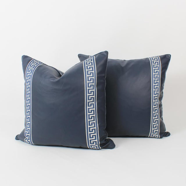 Animal Skin Navy Leather Greek Key Pillows, Pair For Sale - Image 7 of 7