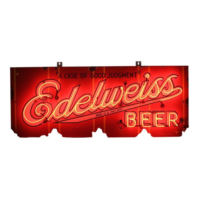1930s Vintage Porcelain Edelweiss Beer Sign For Sale
