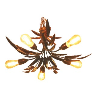 Vintage Italian Tole Palm Leaf Chandelier For Sale