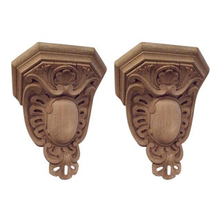 Pair of 19th Century Large-Scale Carved Oak Brackets For Sale