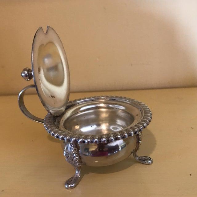 Sheffield Vintage Silver Mustard Pot & Matching Salt Cellars - Set of 3 For Sale - Image 4 of 8