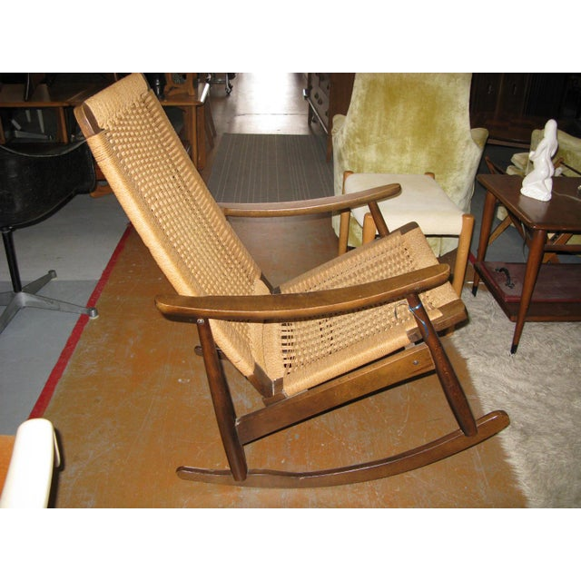 Hans Wegner Style Rope Rocking Chair - Image 6 of 8